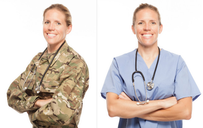 military_to_nurse_transition_same_woman_two_uniforms