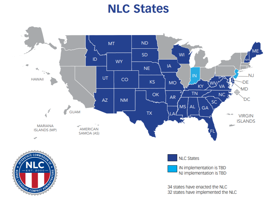 Nursing Compact States Map Nurse Licensure Compact States   TravelNursing.com